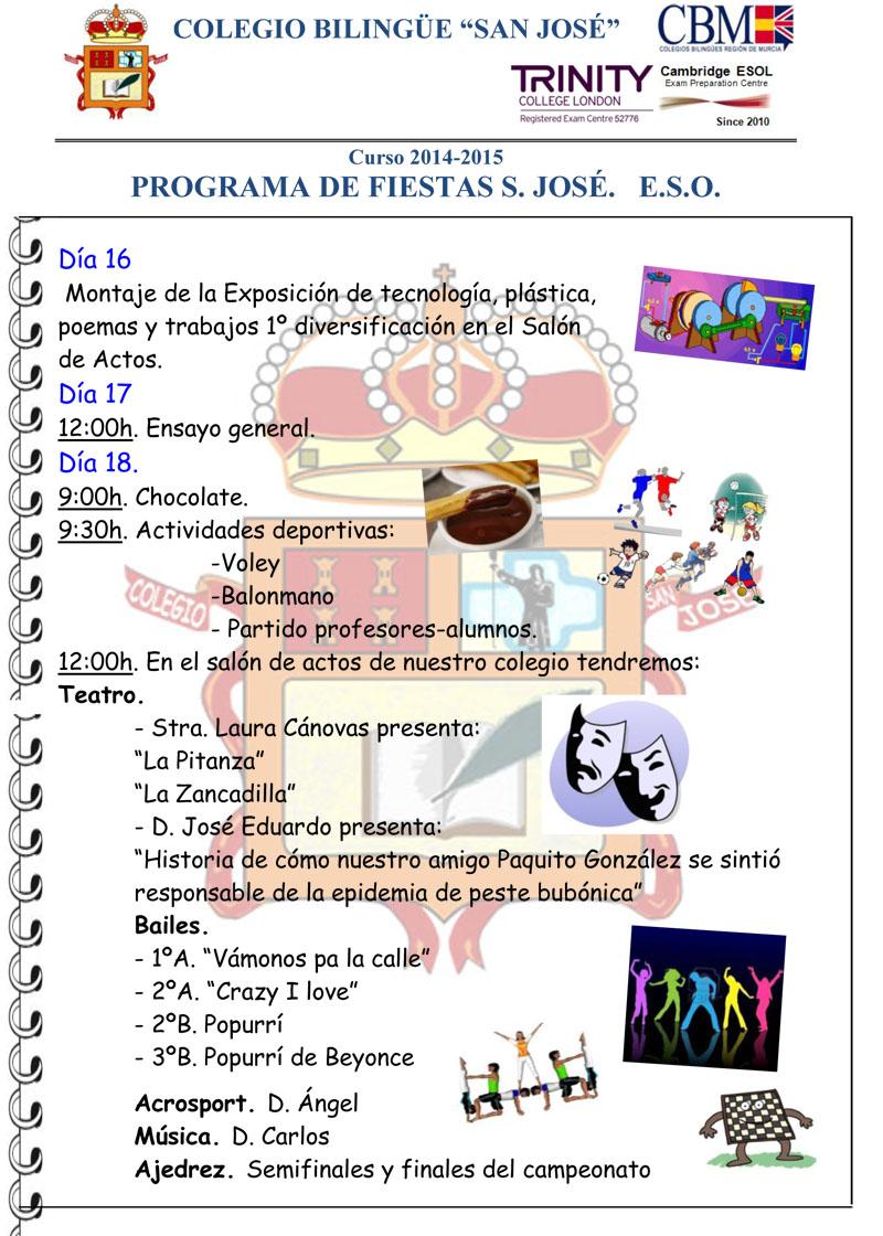 Programa fiestas S José 2014 2015