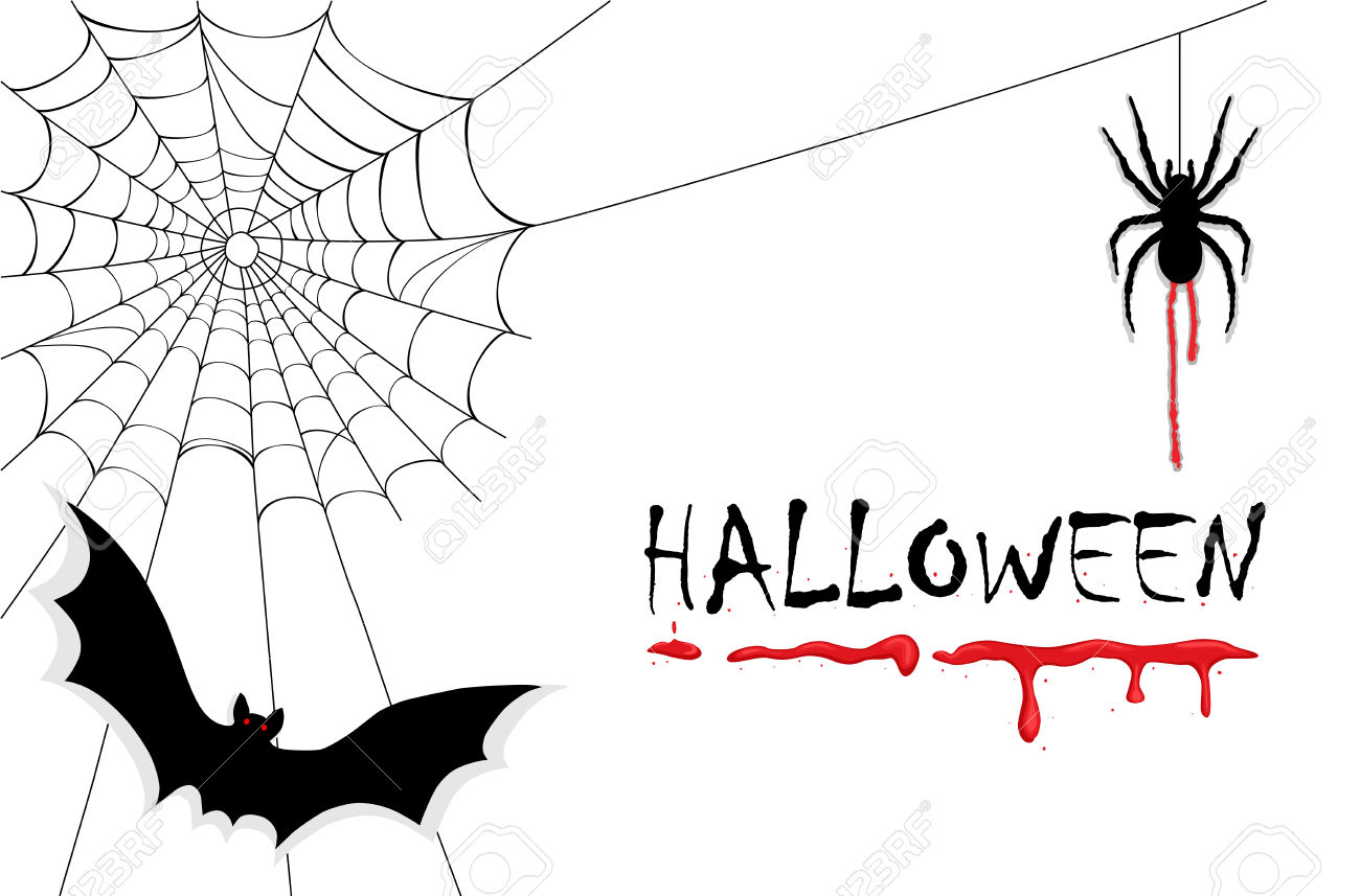 Celebrating Halloween with creepy vampires, bats, spiders and dripping blood. Isolated over white background. Vector illustration saved as EPS AI 8, no effects, no filters, easy printing.