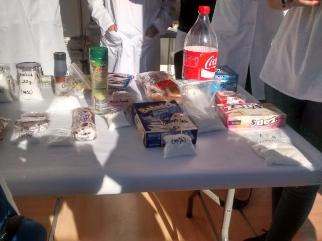 Contenido de azúcar de diversos productos de uso cotidiano