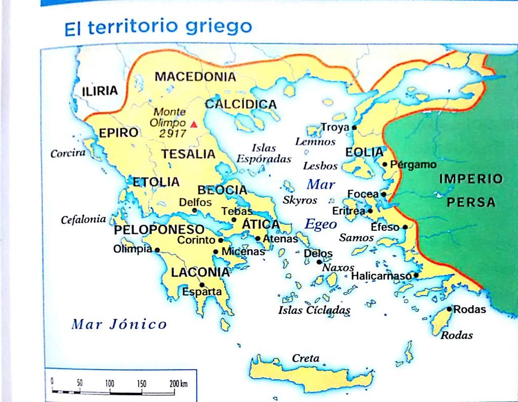 Territorio griego. Libro de texto Geografía e historia, 1º ESO, Ed. ANAYA