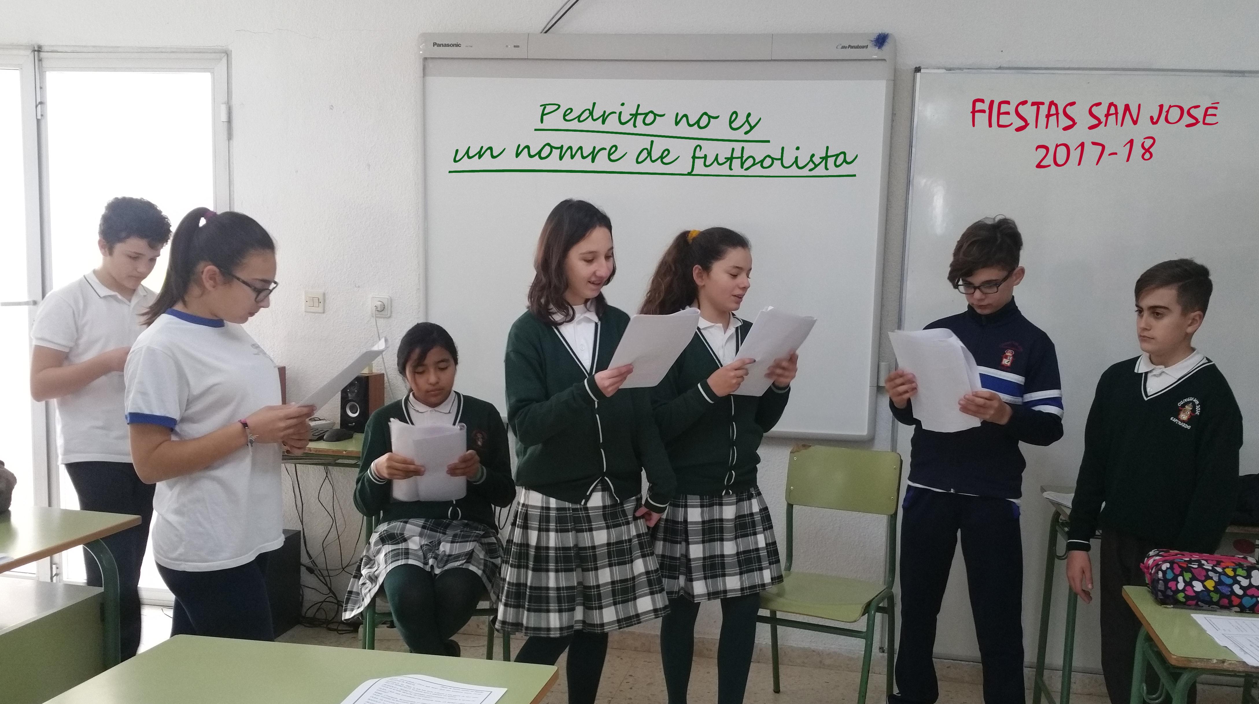 Los alumnos de 1º ESO (B) representan la obra 'Pedrito no es un nombre de futbolista'